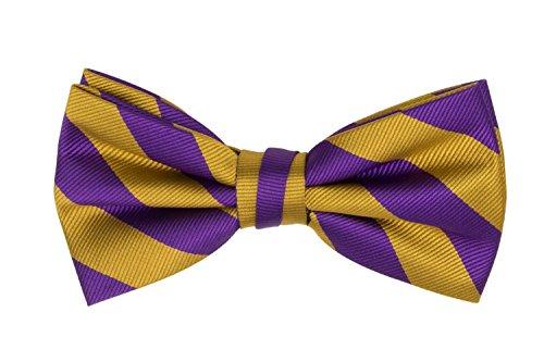 Jacob Alexander Stripe Print Men's College Striped Pretied Bowtie - Purple - Shop Gold Purple And