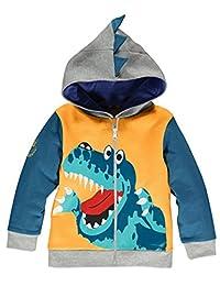 CM-Kid Little Boys Cartoon Dinosaur Zipper Hoodies Spring Jacket Coats 1-6 Years