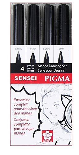 Manga Set – Sakura Pigma SENSEI Manga SET (4 Stylos, Noir)