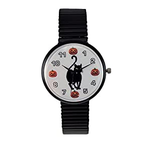 Women's Halloween Watch Black Cat Pumpkin Watch Black Stretch Band