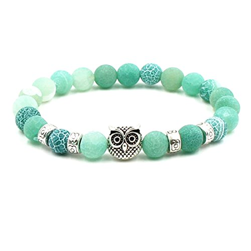 BaiYunPOY 8mm Handmade Charm Prayer Beaded Yoga Bracelet for Men Women - Natural Energy Beads Bracelet Healing Bangle - Blue Weathered Agate Owl (Owl Beaded Bracelets)