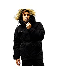 Fuerza Mens Winter Down Wellon Raccoon Fur Hooded Parka Jacket Coat - Black