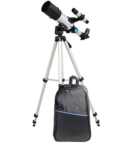 TwinStar 60mm Compact Refractor Telescope Backpack Bundle – Silver