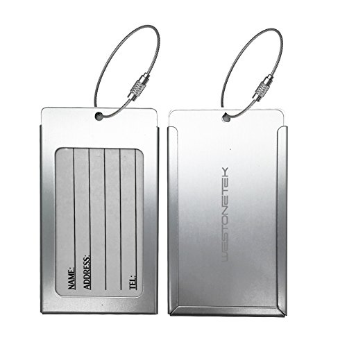 Pack of 2 Luggage Tags, Aluminum Metal Travel ID Tag Business Card Holder Name Address Identifier Labels Suitcase Label with Steel Cable for Baggage Bag, Silver