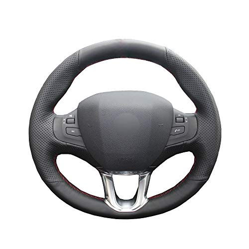 KDKDKLMB steering wheel cover Hand Sew Car Steering Wheel Cover Black Leather For Peugeot 208 for Peugeot 2008 Breathable Steering-wheel Auto Accessorie: