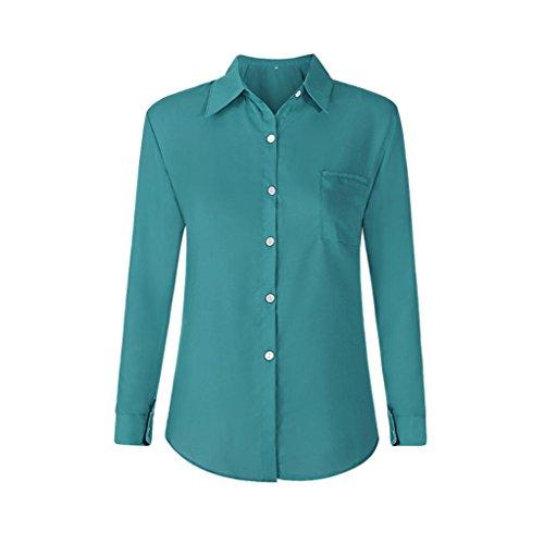 Bavero Chiffon Tendenza OL JiaMeng Donna Casual Verde Parti Allentato Casual T da Camicie Bluse Donna da in Signore Camicia Pocket da e Taschino Camicetta Shirt Superiori Aqg0qarP