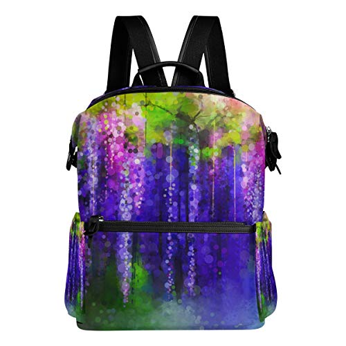 Dragon Sword Violet Red And Yellow Flowers Watercolor School Backpack College Bags Daypack Bookbags for Teen Boys Girls