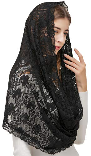 Pamor Infinity Veils Tulle Scarf Veil Head Covering Latin Mass Mantilla with Free Hairclip (black) ()