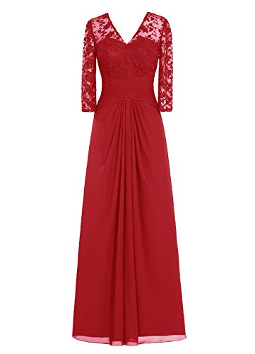 DRESSTELLS Long Chiffon Bridesmaid Dress Lace Mother of Bride Party Dress Dark Red Size 6