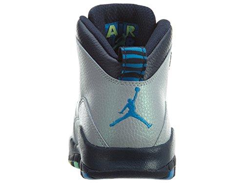 NIKE Air Jordan Junior GS Große Kinder Retro 10 Basketballschuhe Wolf Grau / Foto Blau / Obsidian / Grün Glow