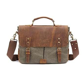 Mens Bag Office Canvas Vintage Style Briefcase Shoulder Messenger Crossbody Satchel Bag Holder for Men Business, Brown/Gray/Green/Khaki High capacity (Color : ArmyGreen)