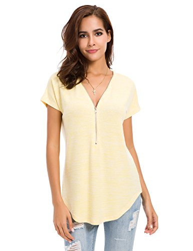 Weave Yellow Necklace - LUSMAY Womens Loose Fitting Zip Up Deep V Neck Short Sleeve Tops Tunic Casual T Shirts Blouse Yellow