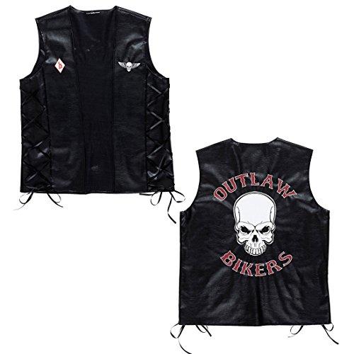 Biker Weste Rocker Lederweste M/L 50/52 Totenkopf Bikerweste Motorrad Rockerweste Gothic Skull Motorradweste Hardrock Kunstlederweste Karneval Kostüm Zubehör