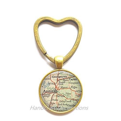 Charming Heart Keychain,Austin, Texas map Key Ring, Austin map Heart Keychain, Austin map Key Ring, Austin Key Ring, Austin Heart Keychain,AO258