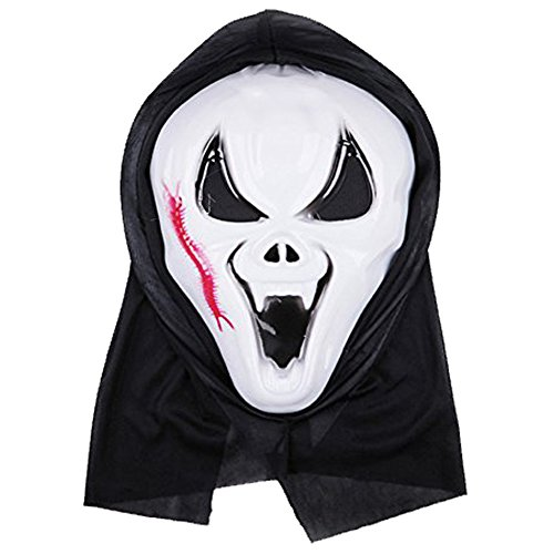 Ghostface Scream Mask Bloody Scream Mask Halloween with Centipede White