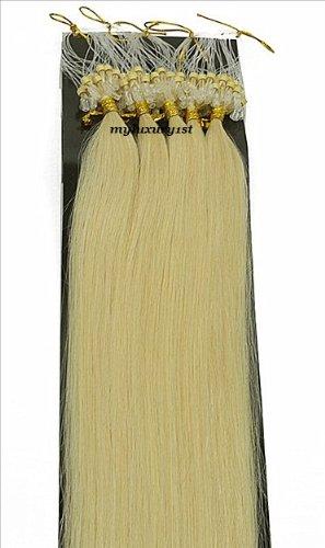 100 Strands #613 Bleach Blonde Yellow Undertone Micro Ring Loop Human Hair Extensions 50 Grams
