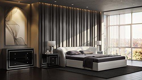 Cal King Sleigh Bedroom Set - Zuri Furniture Modern Vitali White Microfiber Leather Platform Cal King Bed