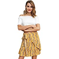 Simplee Women's Floral Mini Skirt Summer Casual Mermaid Short Wrap Skirt