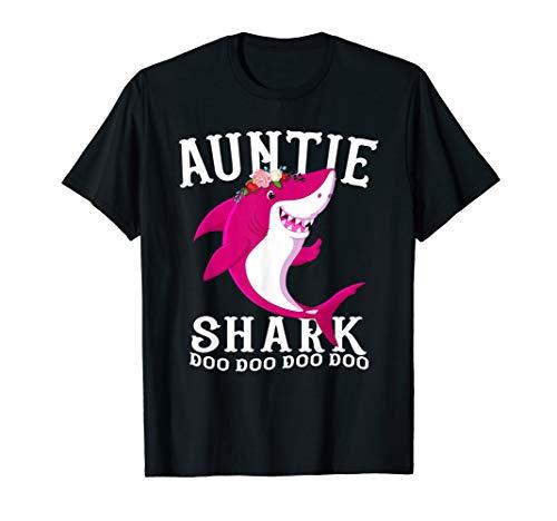 Auntie Shark T Shirt Mother Grandma Halloween Christmas -