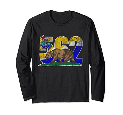 Unisex Flag of Long Beach 562 California Bear Long Sleeve Shirt XL: Black