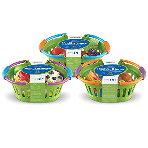 Learning Resources New Sprouts Healthy Foods Basket Bundle, Pretend Toddler Food, 37 Piece, Ages 18 Months+
