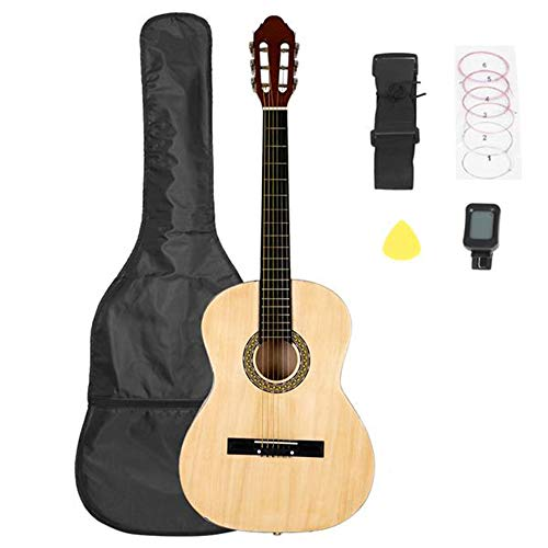 [해외]38 Inch Folk Guitar with Bag & Board &Belt & Liquid Crystal Tuner & Strings Set Three Colors Optional (Wood color) / 38 Inch Folk Guitar with Bag & Board &Belt & Liquid Crystal Tuner & Strings Set Three Colors Optional (Wood color)