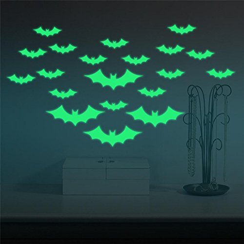 Malltop Halloween DIY Bat Wall Sticker, Glow in the Dark Party Favour RoomMural Decor