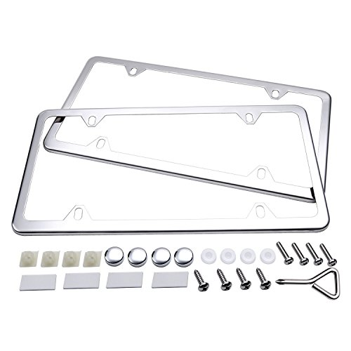 (Ohuhu License Plate Frames, 2 Pcs 4 Holes Slim Stainless Steel Polish Mirror License Plate Frame + Chrome Screw Caps)
