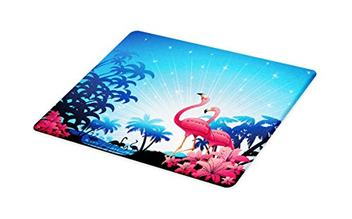Lunarable Tropical Cutting Board, Nature Scene Exotic Flowers and Palm Tree Silhouettes and Flamingos Wildlife, Decorative Tempered Glass Cutting and Serving Board, Small Size, Pink Blue White ()