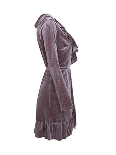 Chute Du Cou V Volants Des Femmes Simplee Vêtements De Velours Mini Robe Partie Robe Wrap Gris Violet