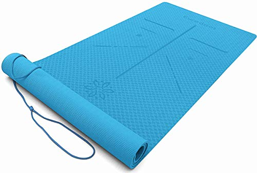 Ewedoos Eco Friendly Yoga Mat with Alignment Lines, TPE Yoga Mat Non Slip Textured Surfaces ¼-Inch Thick High Density Padding to Avoid Sore Knees, Perfect for Yoga, Pilates and Fitness (Blue)