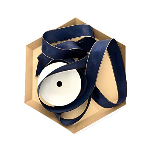 (Navy Blue and Rose Gold Grosgrain Ribbon, 1 Inch, 10 Yards, Double Face Fabric Ribbon with Copper Trim and Silk Stripe for Party Decoration, Wrapping Presents, Crafts, Flower Arrangements and More)