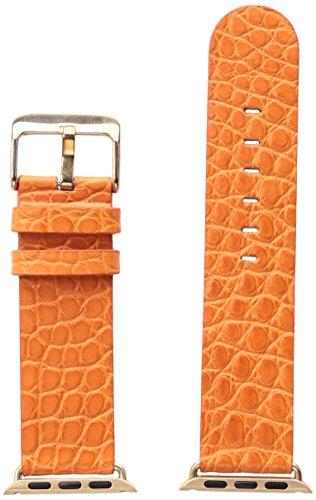 Alligator Orange Strap (Hadley Roma AP1000UAG38R 38mm Apple Strap Alligator Mte Leather Alligator Orange Watch Strap)