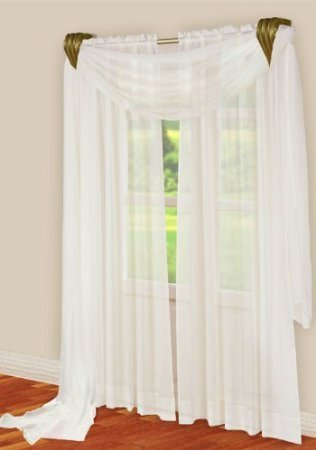 Amazon.com: 3 Piece Coffee Brown Sheer Voile Curtain Panel Set: 2 ...