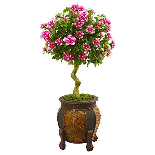 Nearly Natural 9299 42-in. Azalea Artificial Topiary Decorative Planter Silk Trees Pink