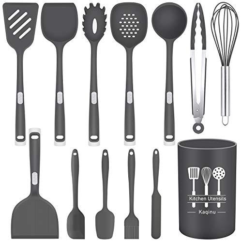Kitchen Silicone Utensil Set, Kaqinu 13 Pcs Full Silicone Handle Heat Resistant Cooking Utensils BPA Free, Non Toxic Non…