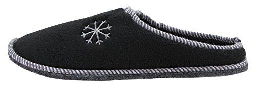 Herren Pantoffel Hausschuhe mit Filzsohle Größe 40 - 45 (44, schwarz)