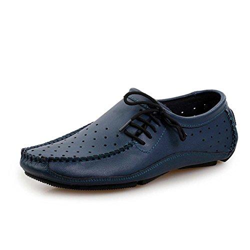 ZXCV Zapatos al aire libre Los zapatos ocasionales del color puro de los hombres calzan los zapatos de los hombres de los guisantes retros de los zapatos Azul