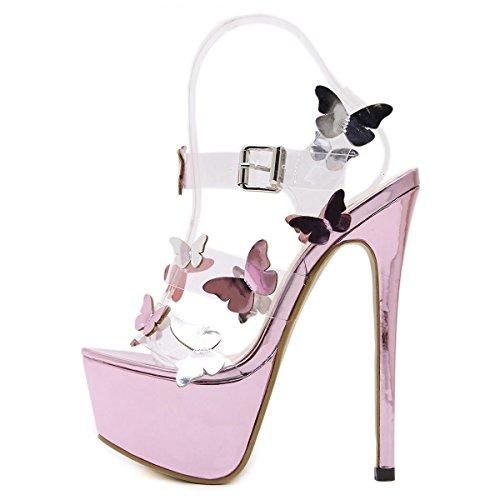 L@YC Frauen High Heels Platform Tanzkleid Bequeme Sandalen Pink