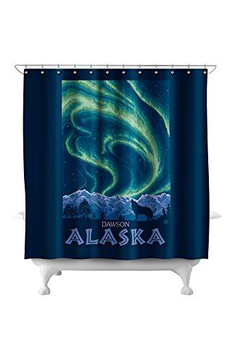 Dawson, Alaska - Northern Lights (71x74 Polyester Shower Curtain)