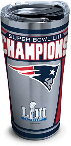 Tervis 1324941 NFL New England Patriots Super Bowl 53 Champions Stainless Steel Insulated Tumbler with Lid, 20 oz, Silver