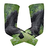 Perfectly Customized Arm Sleeves Horsepower Friesian Horses Black Mens Sun UV Protection Sleeves Arm Warmers Cool Long Set Covers