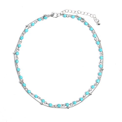 Artilady Layer Opal Choker Necklace for Women ¡ (Silver Turquoise)