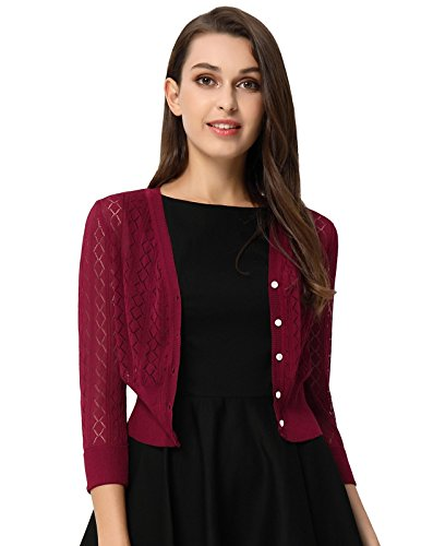 Women's V-Neck Button Down 3/4 Sleeve Classic Knit Cardigans Wine Size S BP728-2 (V-neck Sleeve 3/4 Cardigan)