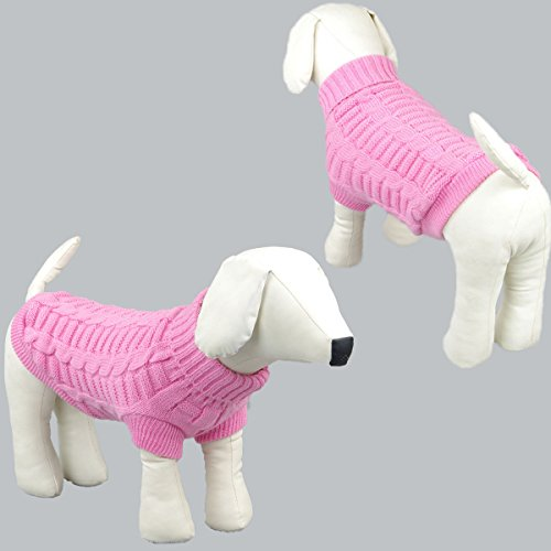 Image of Wiz BBQT Knitted Braid Plait Turtleneck Sweater Knitwear Outwear for Dogs & Cats (Pink, L)