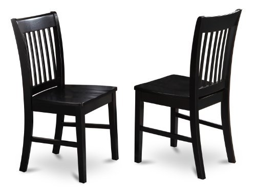 (East West Furniture NFC-BLK-W Dining Chair Set with Wood Seat, Black Finish, Set of)