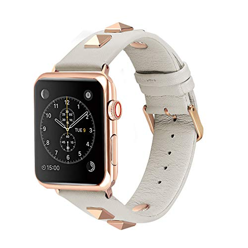 Solomo Compatible for Apple Watch Band 38mm 40mm, Fashion Women Genuine Leather Replacement Strap 3D Studs Spikes Rivets Rock Punk Rose Gold Metal Adapter Buckle iWatch Series 4/3/ 2/1 (Creamy White) - Fashion Band The