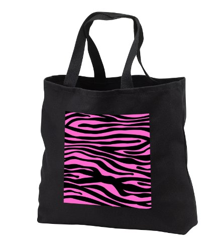 - InspirationzStore Zebra Stripes - Hot Pink and Black Zebra Stripe print pattern - Animal print collection for Girly fashionistas - Tote Bags - Black Tote Bag JUMBO 20w x 15h x 5d (tb_56677_3)
