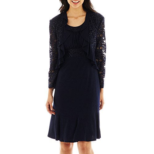 R&M Richards Women's Two PCE Missy Ruffle Jacket Over A Solid Dress,  Navy,  14