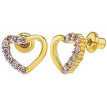 18k Gold Plated Pink Crystal Open Heart Children Screw Back Baby Earrings